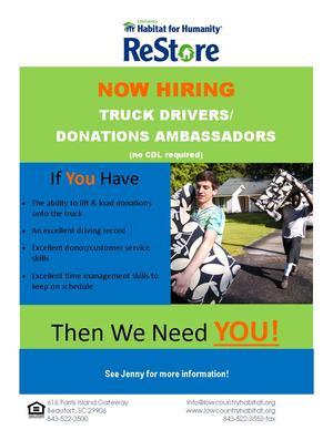 ReStore Truck Drivers neededweb
