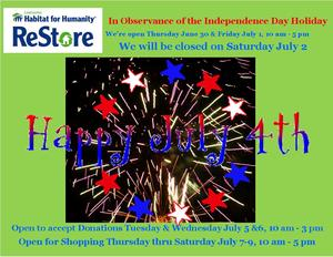 2016July 4 Closed ReStore sign 3